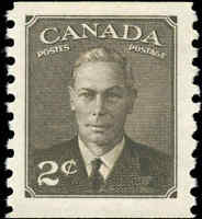 Stamp Canada Mint 1950 F-VF Scott #298 2c King George VI Coil Never Hinged