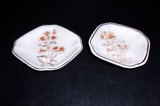 Vintage Unmarked Pair of Butter Pat Dishes with Coral Flowers