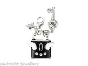 Tingle Sterling Silver Charm clip on Lock and Key with Gift Bag and Box SCH62
