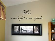 When words fail music speaks Vinyl Wall Decal Sticky Decor Letters  Quote Art