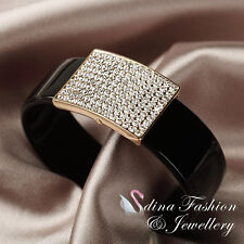18K Yellow Gold Plated Simulated Diamond Stylish Gloss Black Cuff Bangle