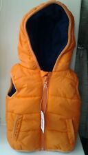 BNWT F & F BABY ORANGE FLEECE LINED HOODED GILET AGE UPTO 3 MONTHS