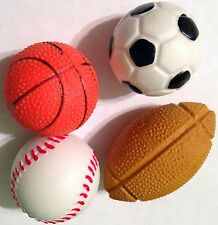 NEW! 6 LARGE SPORTS ERASERS BASEBALL FOOTBALL BASKETBALL SOCCER PARTY FAVORS