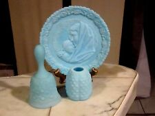 FENTON 3pc. Blue Satin. Bell, Top of Fairy Lamp, 1971 Mothers Day Plate.