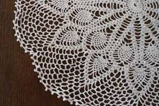 True Vintage Fancy Crochet Lace Doily Pineapple Fine Cotton White 13""