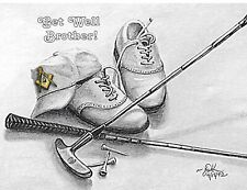 GET WELL BROTHER!  Golf Theme - 12 Beautiful Greeting/Note Cards!