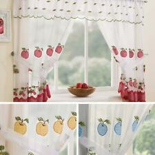 Gingham Curtain Set Winchester Complete Window Ready Made Embroidered Curtains