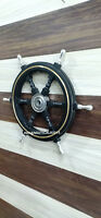 "24"" Black Wooden Ship Wheel Boat Steering Nautical Wall Decor Item"