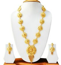 Indian Bridal Fashion Jewelry  Gold Plated Long Necklace Earrings Jewelry Set
