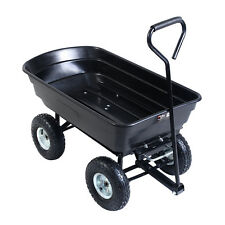 650LB Garden Dump Cart Dumper Wagon Carrier Wheel Barrow Air Tires Heavy Duty