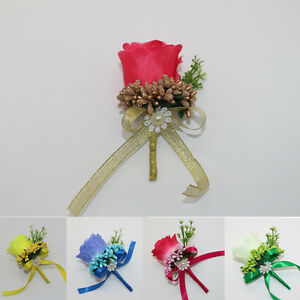 5 Pcs 100% Handmade Rose Artificial Flowers Boutonniere Groom Groomsman Corsages