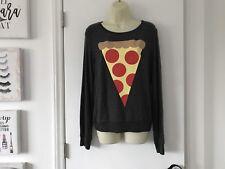 NWT Wildfox Grey Pizza Slice Sweater Sweatshirt XSmall XS BBJ Baggy Beach Jumper