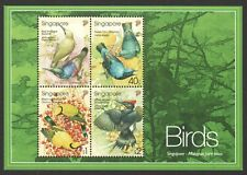 SINGAPORE 2002 MALAYSIA JOINT ISSUE BIRDS SOUVENIR SHEET 4 STAMPS SC#1017a MINT