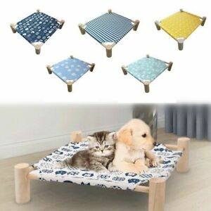Small Elevated Dog Cat Bed Soft Washable Canvas Cover & Pine Frame Pet Hammock