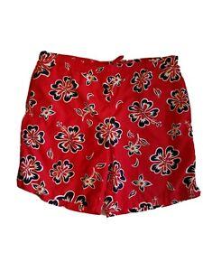 Men's Size Large (36-38) Swim Trunks Board Shorts Lands End  Red Floral
