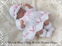 "BABYDOLL HANDKNIT DESIGNS KNITTING PATTERN DRESS & SHRUG FOR 10-12"" DOLL"