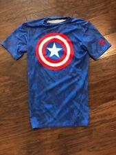 Under Armour Compression Heat Gear T Shirt Captain America Mens M Euc