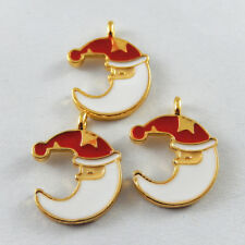 20*15*2mm Enamel Gold Alloy Moon Look With Red Hat Xmas Jewelry Pendants 20pcs