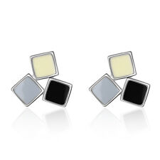 Square Stud Earrings Free Shipping Fashion Women's 925 Sterling Silver Epoxy