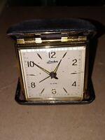 Vintage Linden Travel Alarm Clock Wind Up, Snap Close Case, Made in Japan