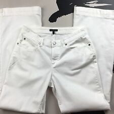 EILEEN FISHER Womens White Organic Cotton Stretch Twill Wide Leg Jeans Size 4