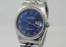 Rolex 18k Gold and Stainless Steel DateJust with Blue Roman No. Dial Mens Watch