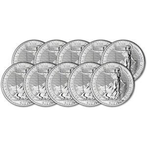 2021 Great Britain Silver Britannia £2 - 1 oz - BU - Ten 10 Coins