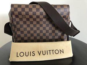 Authentic Louis Vuitton Damier Ebene Naviglio Unisex Messenger / Shoulder Bag