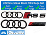 Audi RS5 Rings Gloss Black Grille & Boot Badge Emblem Set - Full Black Out Set