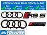 Audi RS5 Rings Gloss Black Grille & Boot Badge Emblem Set - Full Black Out Set