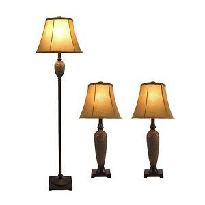 Hammered Bronze Finish 3 Piece Lamp Set Table Floor Lighting with Shades Elegant