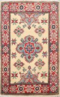 Hand-Knotted Super Kazak Vegetable Dye Oriental Area Rug Classic Wool 2x3 Carpet
