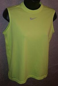 Nike Dri-Fit Neon Green/Yellow Sleeveless Workout T-Shirt - Juniors Large