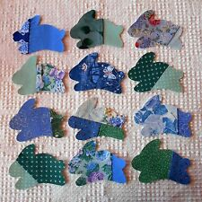 AB72 Iron On Sew On Appliques from Modern Cutter Quilt Blocks, Set of 12 Rabbits