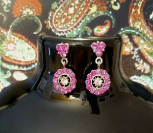 VINTAGE EARRINGS Pierced 1970/80s Silver Tone DIAMANTE Circular Dangle Pinks.