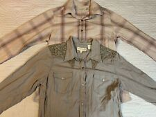 Rockies, Stetson Western Long Sleeve Shirts Pink, Brown Women Small Lot Of 2