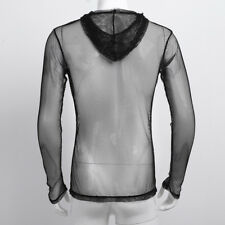 Vintage 80's Mens Mesh Fishnet See-through Hooded Lingerie Faux Leather T-Shirt