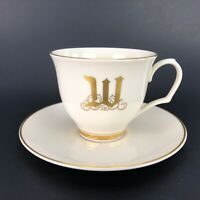 Pickard Coffee Cup & Saucer Monogram Last Name Initial Letter W Tea Ivory Gold