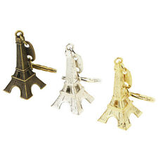 Retro Mini Paris Eiffel Tower Model Keychain Keyring Metal Split Key Ring LF
