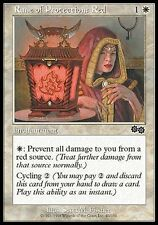 ▼▲▼ 4x Rune of protection : Red ( rouge ) Urza's Saga #40 ENGLISH Magic