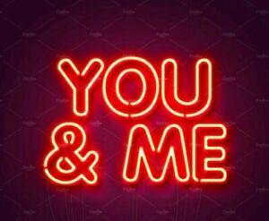 """YOU & ME"" Glass Neon Sign/Light/Lamp Custom Made"