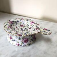Antique Porcelain Victorian Roses Tea Strainer Drip Bowl Gold Trimmed