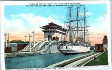 "MIRAFLORES LOCKS, Panama Canal  ARGENTINE WARSHIP ""PRESIDENT SARMIENTO"" Postcard"