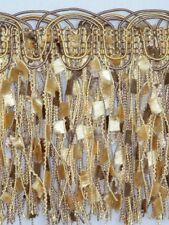 "4 1/4"" Elegant Confetti Fringe Trim Tassel Gold & Brown Per Yard"