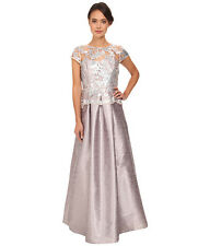 ADRIANNA PAPELL CAP SLEEVE SEQUIN ILLUSION LACE DUPONI PEARL GRAY GOWN sz 12