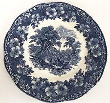 Woodland Wedgwood Plate Blue White Hand Engraving Horse Buggy Nature England