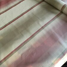"DESIGNER SILK TAFFETA FABRIC in TAUPE LAVENDER & GRAY STRIPES - 55"" x 74"" +"