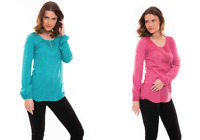 Ex Monsoon Pure Cotton Long Sleeved Top Blouse in 2 Colours Size 10 - 22 (D5)
