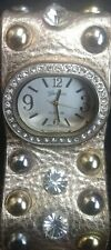 Geneva Platinum Watch with Rhinestones and Studs Gold Leather Snap Band