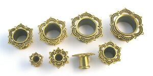 Ornate Brass Lotus Flesh Tunnel Ear Plug Push Body Jewellery Ear Lobe 4mm-16mm